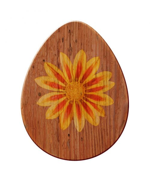 Vintage Wooden Egg With Flower