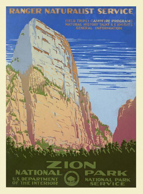 Vintage Zion Park Poster