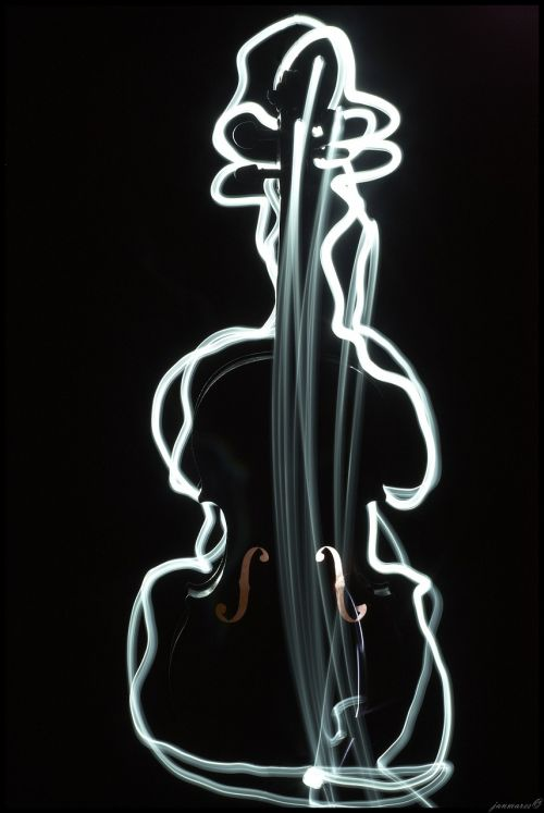 violin music painting with light