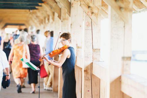 violinist violin wooden bridge