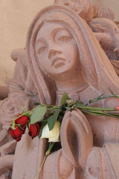 virgin guadalupe st anne roman catholic parish stone statue