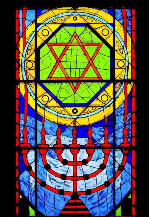 vitrage menorah stained glass