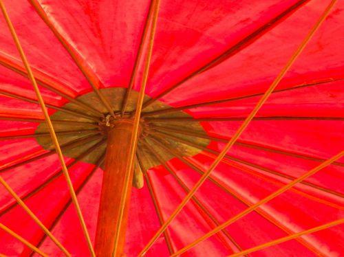vivid red umbrella