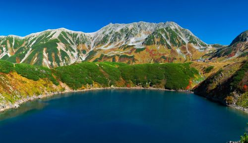 volcanic lake mountainous landscape autumn