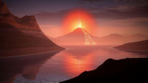 volcano lava landscape