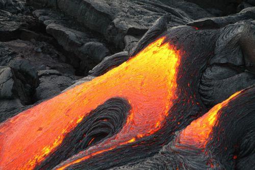 volcano lava flowing