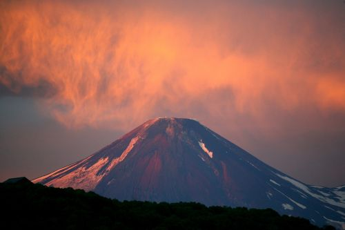 volcano sunset clouds