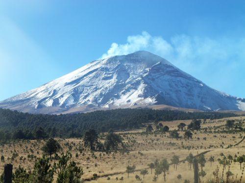 volcano snow nature