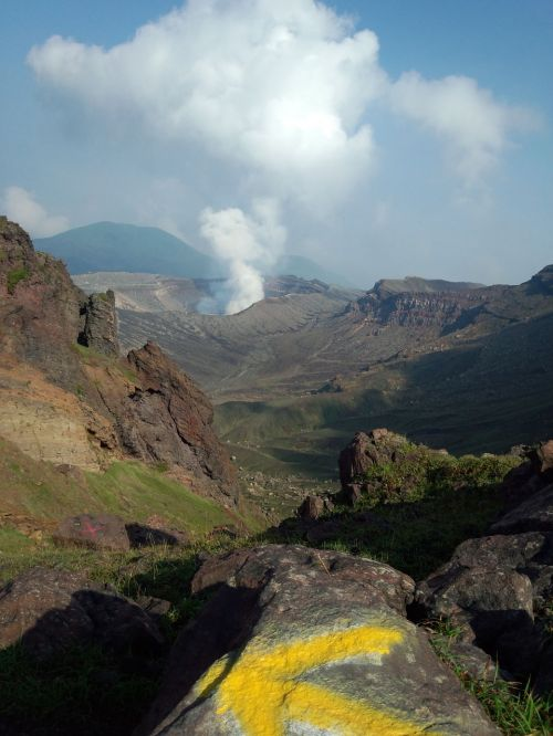 volcano aso crater