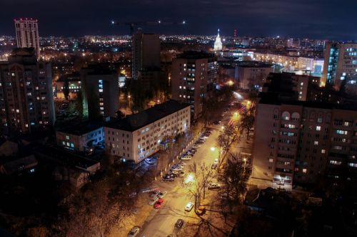 voronezh night city view from above