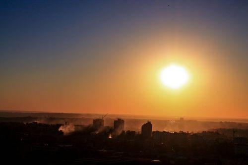 voronezh sunset the urban landscape