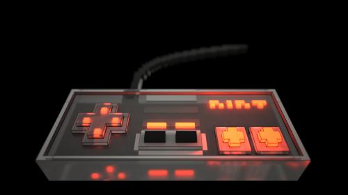 Vokselis,Nintendo,klasikinis,Nes,tamsi,žaisti,valdytojas,šviesa,kontūrai,stiklas
