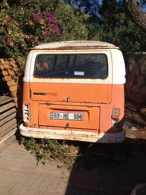 vw bus orange old