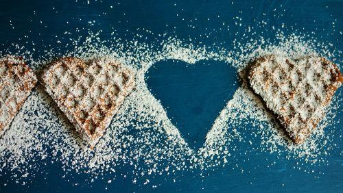 waffle heart waffles icing sugar