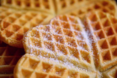 waffles waffle heart icing sugar