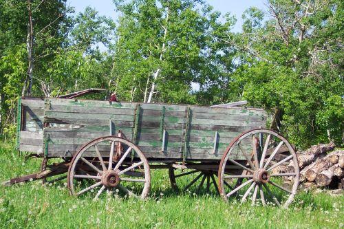 Wagon And Wood Pile