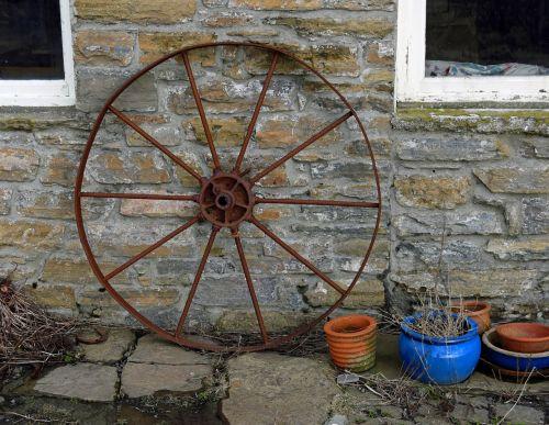 wagon wheel rusting wall