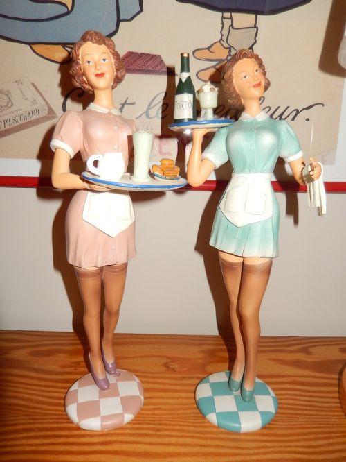 waitress statuettes 1950