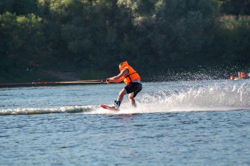 wakeboarding skiing lake