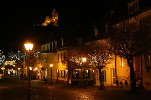 waldkirch of city at night with christmas lights city