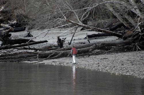 walk on beach kid red jacket