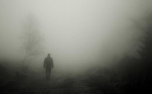 walkers autumn fog