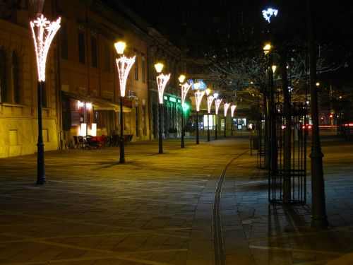 walking street lamps in the evening