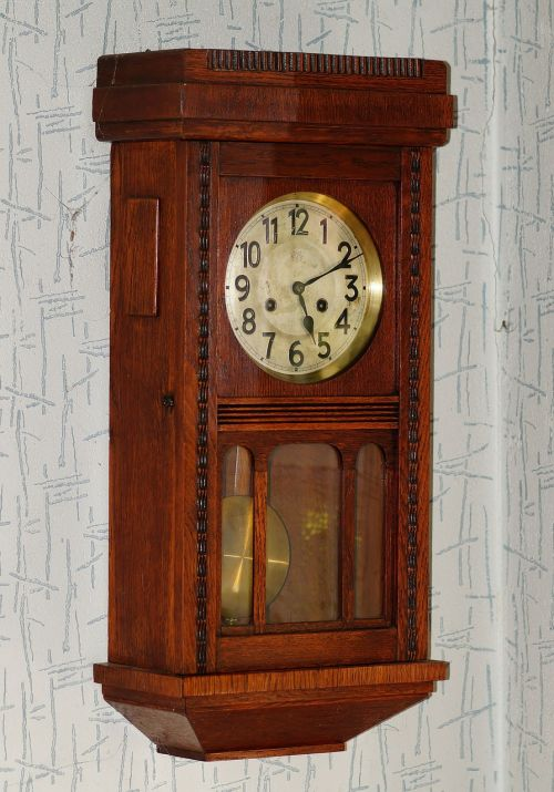 wall clock antique wood