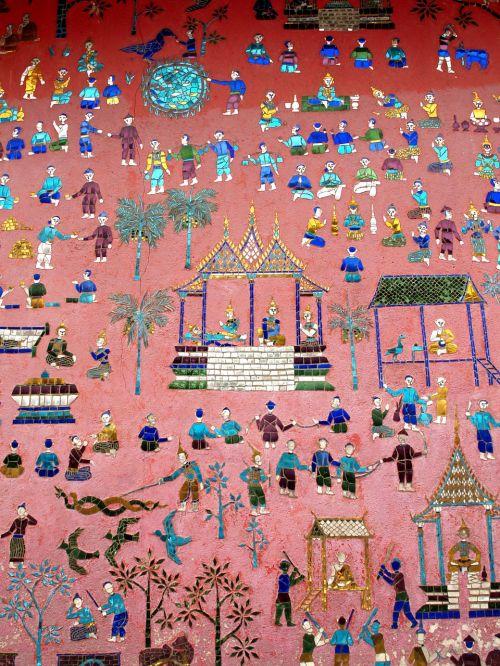 wall painting luang prabang laos