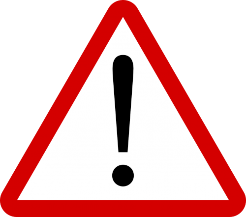 warning attention road sign