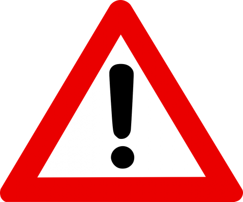 warning sign exclamation mark in red triangle alert
