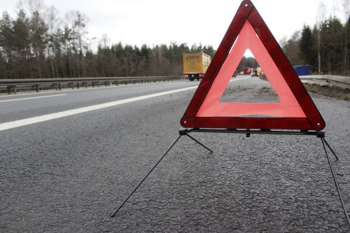 warning triangle accident highway