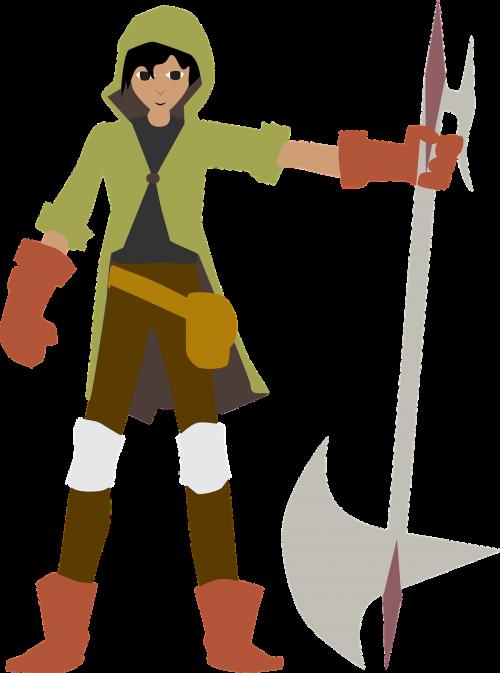 warrior man with a halberd halberd