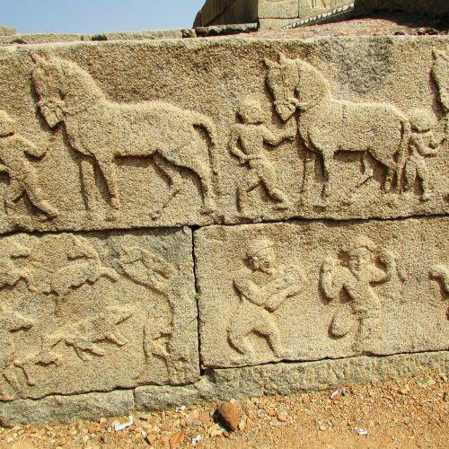 warriors sculpture hampi india