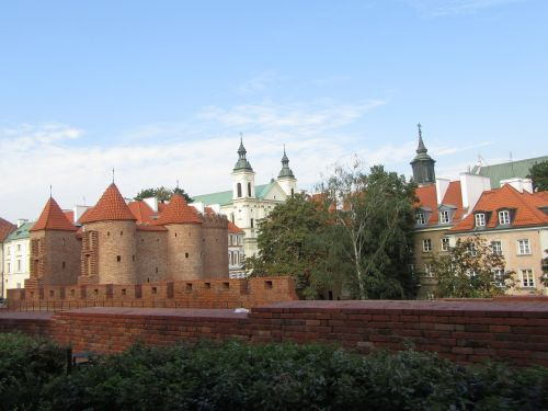 warsaw old town towers