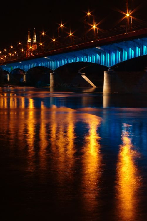 Varšuva, tiltas, naktis, ilga ekspozicija, senamiestis, Senamiestis, viadukas, wisla