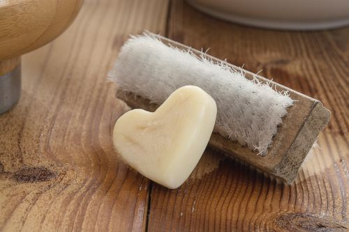 wash brush soap heart soap
