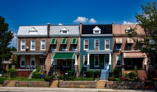 Vašingtonas,c,miestas,miestai,miesto,eiliniai namai,senas,kaimynystėje,orientyrai,istorinis,architektūra,namai,hdr,dangus,debesys,patrauklus,vaizdingas