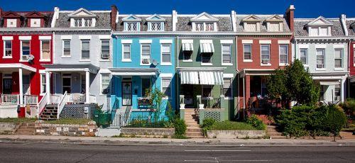 Vašingtonas,c,miestas,miestai,miesto,eiliniai namai,vaizdingas,spalvinga,kaimynystėje,hdr,architektūra,panorama
