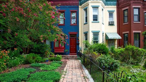 Vašingtonas,c,miestas,miestai,miesto,eiliniai namai,vaizdingas,spalvinga,kaimynystėje,hdr,architektūra,sodas,žydi,žiedai,patrauklus