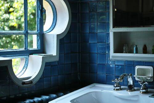 washroom windows blue