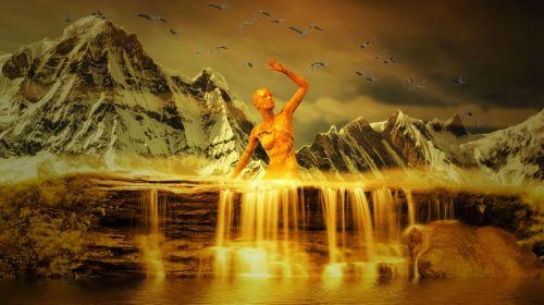 fantazija, krioklys, kalnai, peizažas, fonas, mistinis, krioklio fantazija