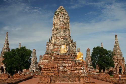 Wat Chai Watthanaram,šventykla,budizmas,Ayutthaya,Tailandas,2004,budistinis,šventyklos kompleksas,wat,centrinė Tailandas