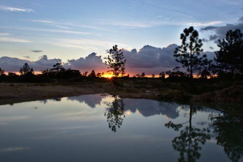water reflection sun set