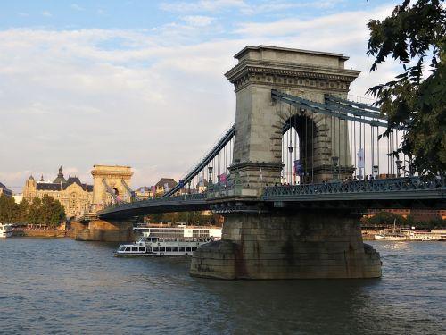 vanduo, architektūra, kelionė, miestas, upė, grandinės tiltas, budapest, tiltas, be honoraro mokesčio