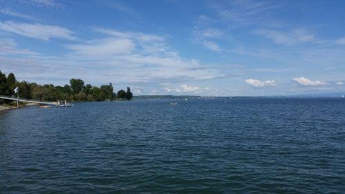 water lake view sky