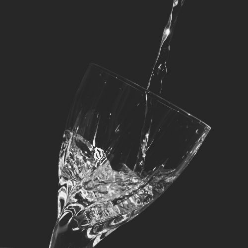 water glass black and white