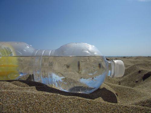 water bottle sand horizon