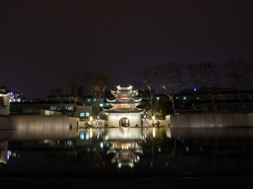 water features night view historical sites