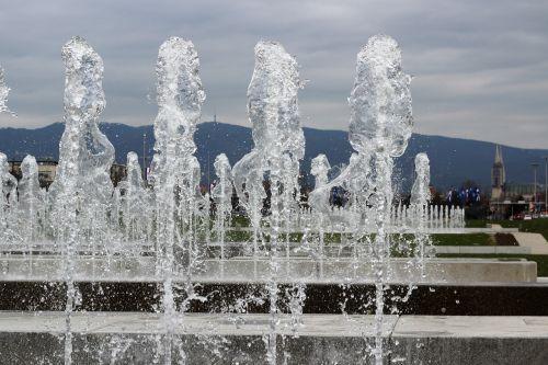 water fontana sprinkling zagreb panorama